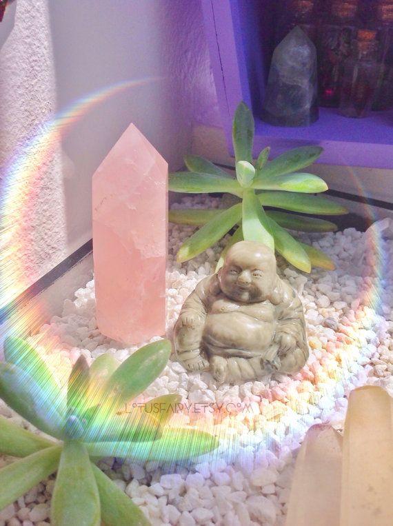 Rose Quartz crystal obelisk point tower gemstone polished stone, pink, reiki, wiccan, altar,
