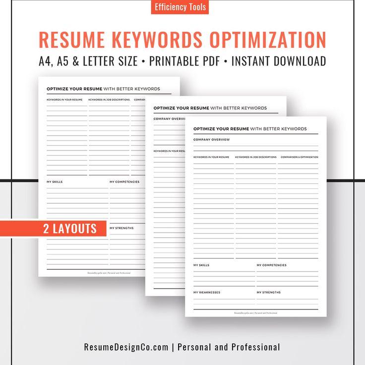 resume keywords optimization 2020  letter size  a4