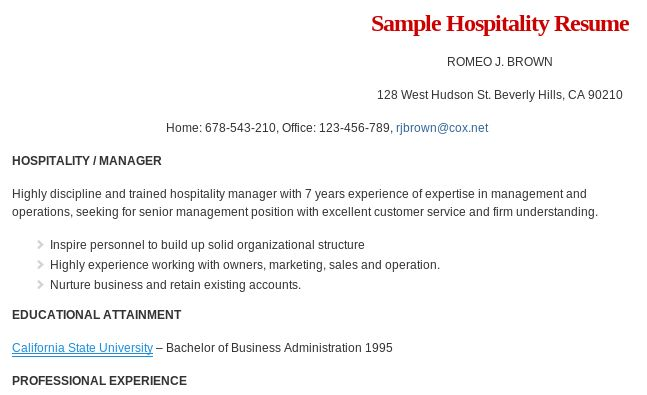 sample hospitality management resume format read more