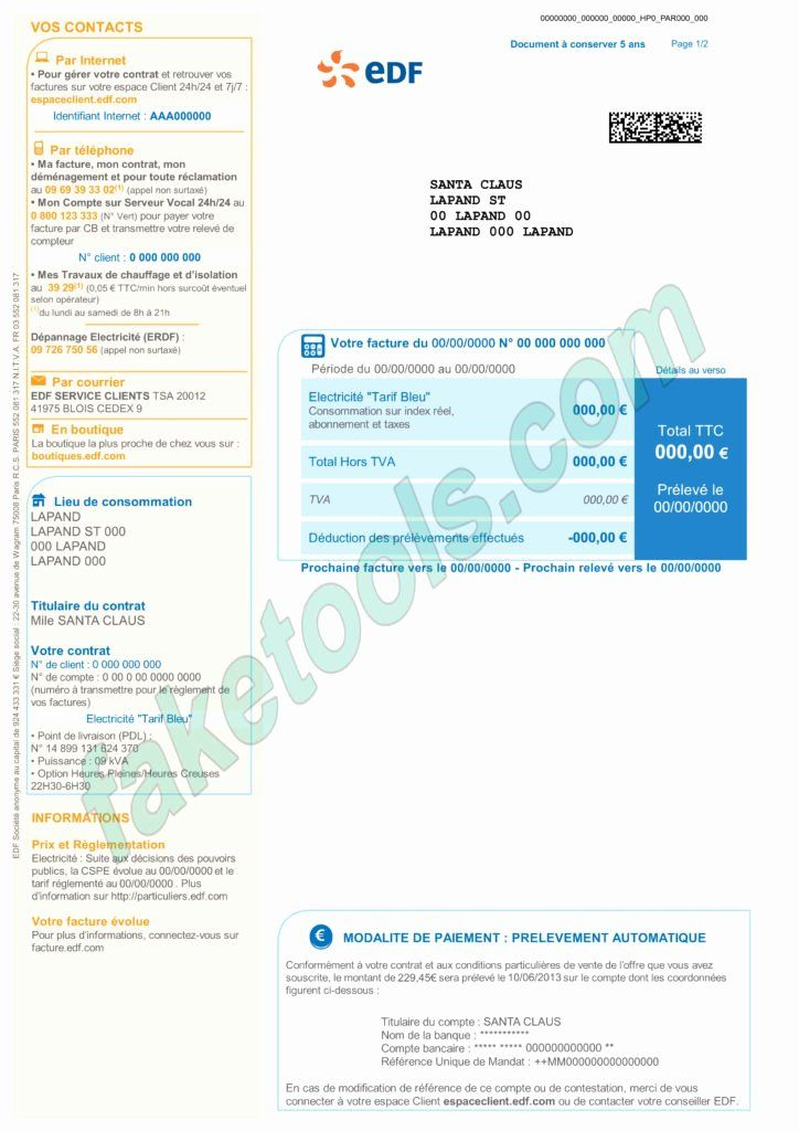 Water Bill Template Unique France Utility Bill Psd Template Fake