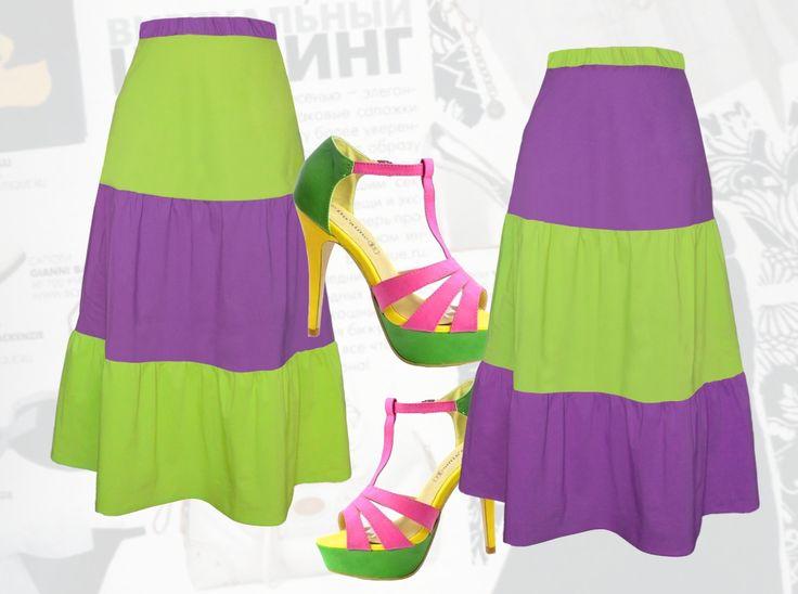 35$ Летняя юбка в пол для полных девушек двухцветная Артикул 726, р50-64