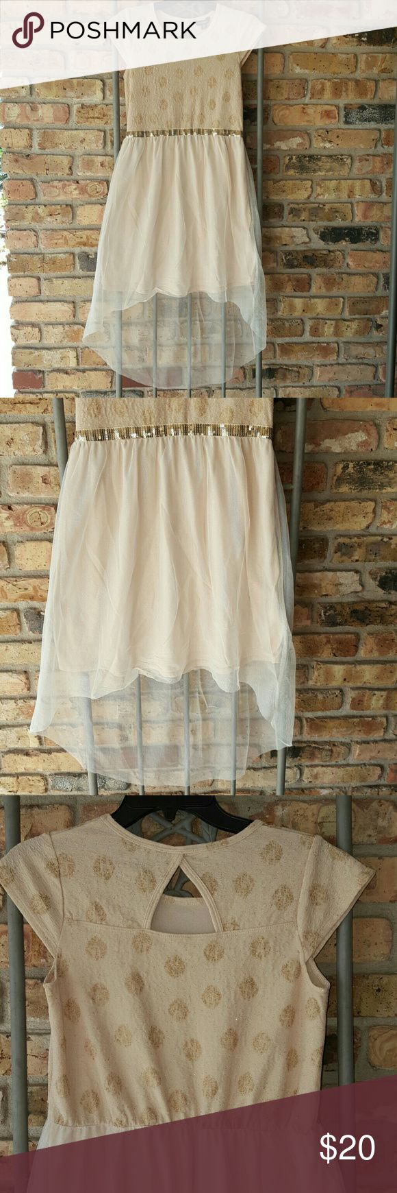 George dress Sparkly gold dress top with gold sequence waist. High/low scooped back sheer skirt with solid cream colored skirt underneath.  Worn once. George Dresses Formal