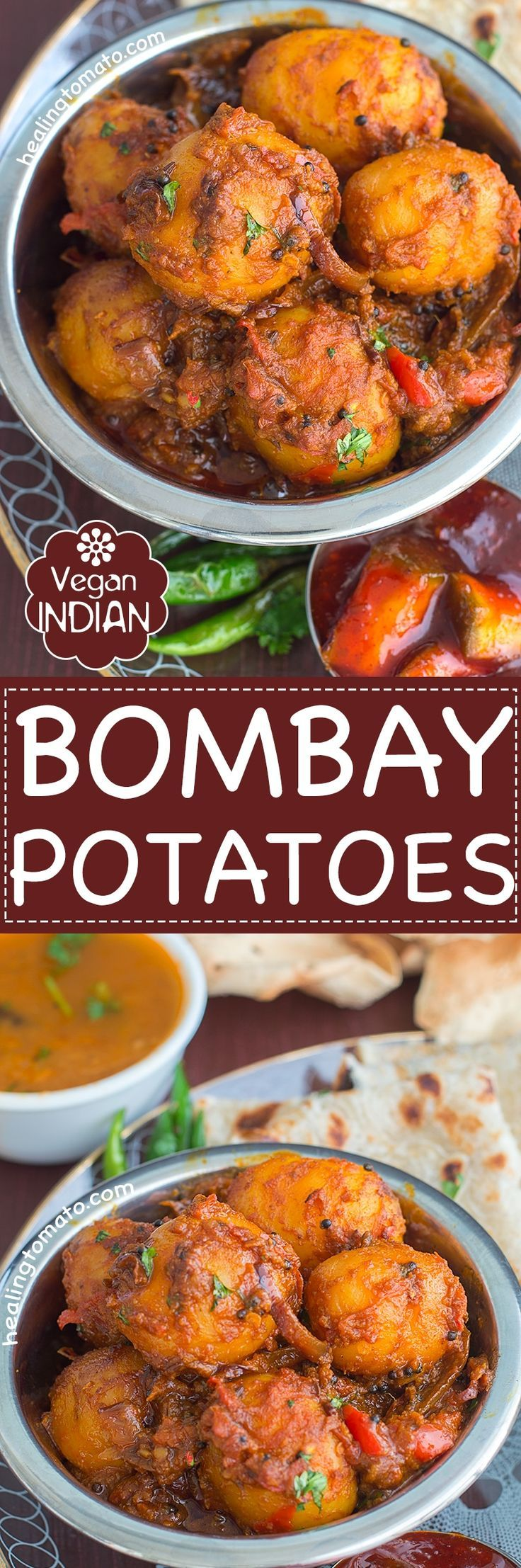 A hearty and spicy vegan Bombay Potatoes. This restaurant style potatoes are very easy to make and require very few ingredients. Serve with naan and rice | Indian Food, Indian Recipes, Easy indian recipes, potato recipes, quick potato recipes, spicy potatoes