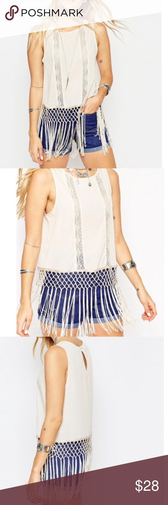 ASOS Fringe & lace top ASOS Fringe & lace top. Light nude top with lace panels and all the fringe!! ASOS Tops