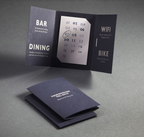 Room and reservation booklet designed by Koniak for Tel Aviv hotel Townhouse.