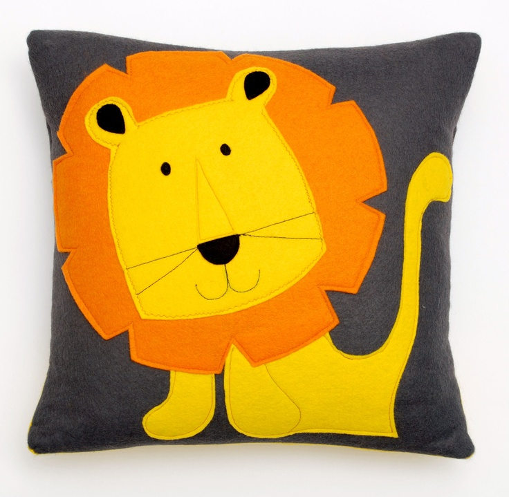 Lion Cushion by Nugget Design Studio.  The cutest lion made from soft wool mix felt. This is a Nugget bestseller!