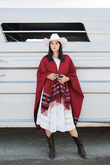 Roots Poncho, Free People Dress, Rodeo King Hat, Vintage Boots