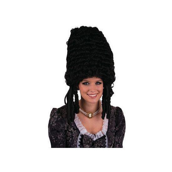 Zwarte pompadour pruik  Glanzende getoupeerde pruik met krullen in het Zwart. Geschikt voor volwassenen.  EUR 17.50  Meer informatie