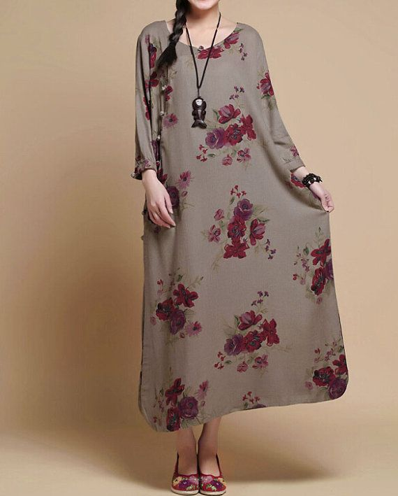 Spring print long dress/ womens Robe/ Long gown by MaLieb on Etsy