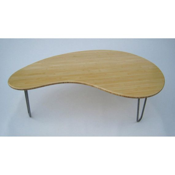 Mid Century Modern Coffee Table   Kidney Bean Shaped Amorphic Curves    Atomic Era Design In Natural Bamboo   Solid Wood Coffee Table