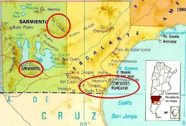 Kaart van die gebied waar die Afrikaanse Boere Gemeenskap in Argentinië woon. Hulle bly in Chubut provinsie, in die groot dorslandgebied wat Patagonië genoem word. Dié gebied is egter baie ryk aan die petrolindustrie. Die Suid-Afrikaners wat hier die petrol gevind het, was eintlik besig om water te vind, maar toe vind hulle onverwags hierdie belangrike en kosbare delfstof.