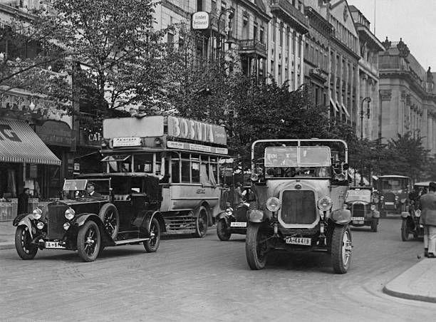 Traffic on Unter Den Linden in Berlin where it crosses the Freidrichstrasse circa 1925