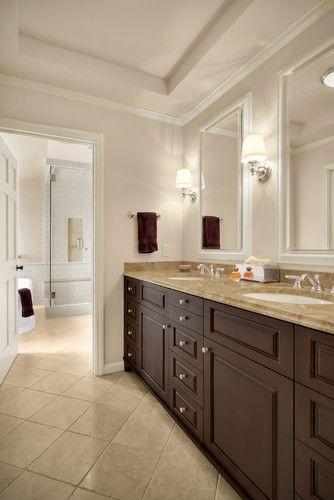 Love the dark chocolate cabinets: Wall Colors, Bathroom Design, Bathroom Colors, Cabinets Colors, Dark Cabinets, Paintings Colors, Bathroom Ideas, Traditional Bathroom, Master Bathroom