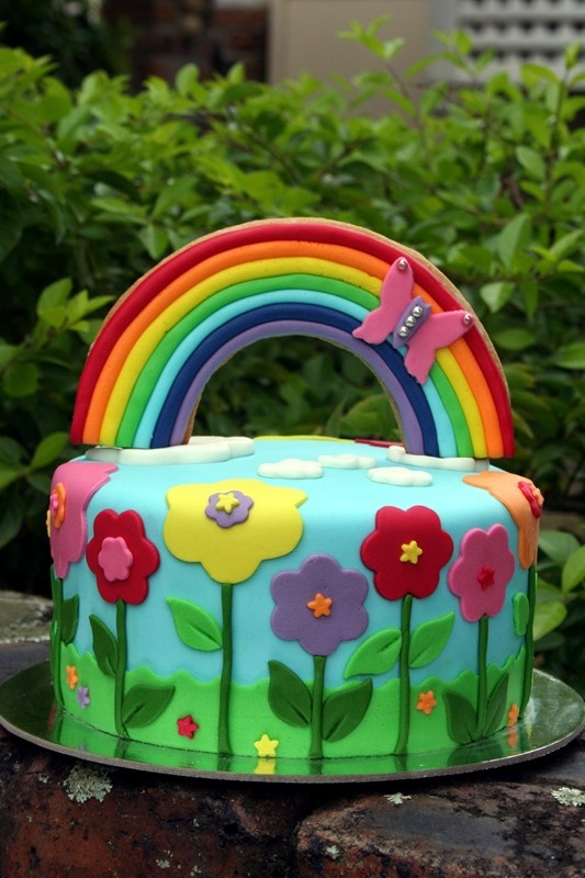 Rainbow Garden Cake.