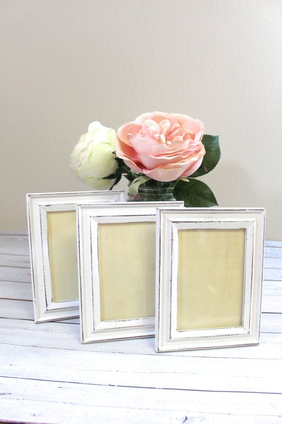 Rustic White Shabby Chic Picture Frames // Wedding Decor // Home Decor ◉  Ships