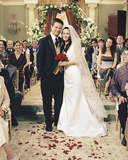 "Monica Gellar (Courtney Cox) and Chandler Bing (Matthew Perry)  said ""I do"" on Friends in 2001"