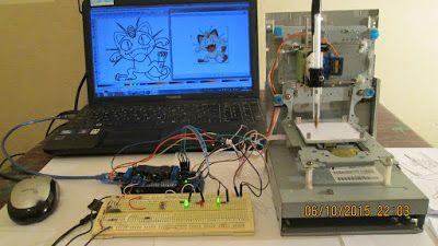 عالم الالكترونيات - Electronics World: الة الرسم  الصغيرة باستعمال أردوينو وقارئ الاقراص ...