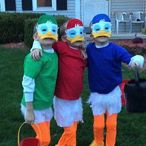 Huey Dewey & Louie eend gevoeld masker  kostuum accessoire