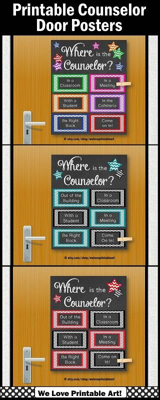 Counseling Office Door: These printable posters make a great gift for a school counselor.  These are INSTANT DOWNLOAD, so you may print in 8x10, 16x20, or 24x30.  Attach a clothespin to let everyone know where the counselor is!   They come in many color options! https://www.etsy.com/shop/WeLovePrintableArt?ref=hdr_shop_menu&search_query=counselor+door