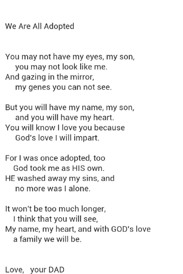 Adoption Poem Parenting Adoption Poems Adoption