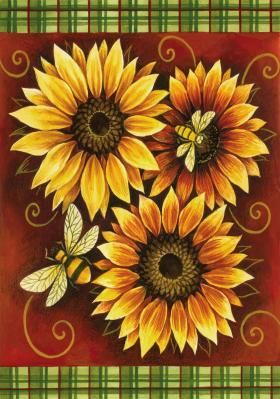 Bees Like Sunflowers Pintura En Tela Pinterest