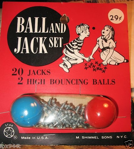 Vintage 1960'S Jacks Jack Jax Game 20 Metal Jacks 2 Ball USA SHIMMEL SONS TOY NY.  Used to play until the side of our hands bled from sweeping the jacks off the ground...:)