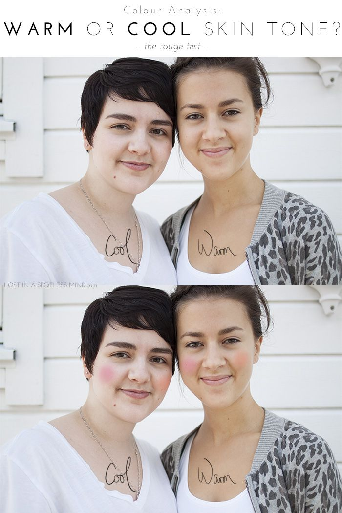 Color analysis: a comparison of a warm and cool skin tones.