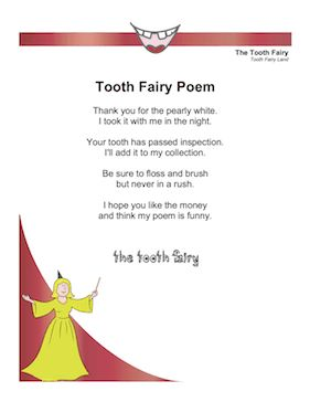 An alternate to a standard letter, this poem will have your child laughing about losing a tooth. Free to download and print
