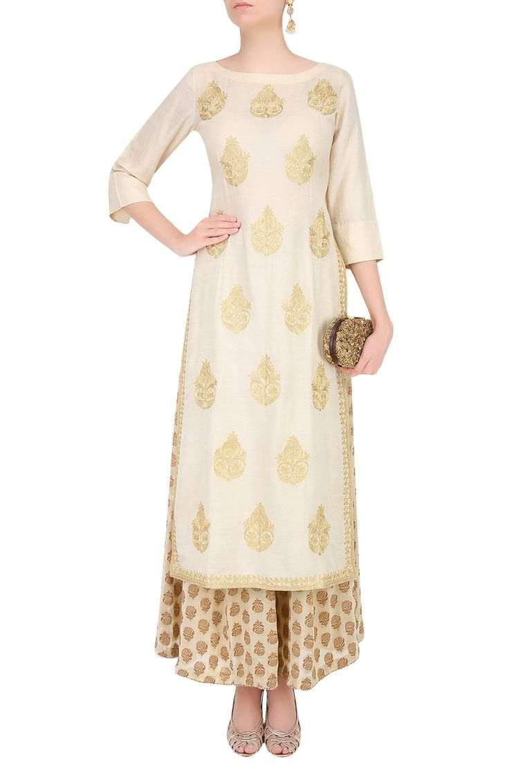Ivory golden thread embroidered kurta with palazzo pants available only at Pernia's Pop Up Shop.