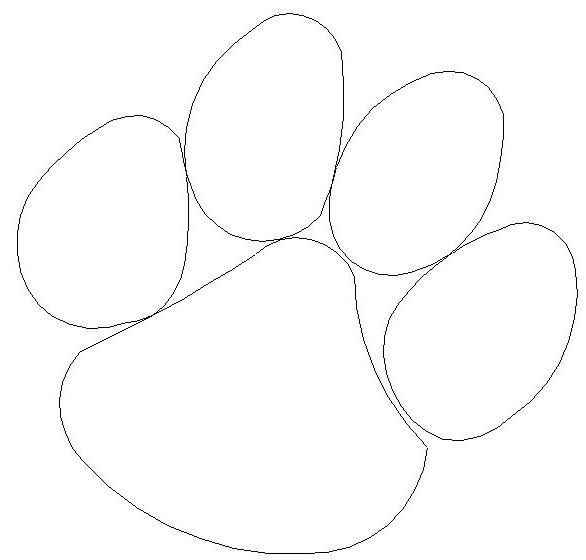 Coloring pages of tiger paw prints murderthestout for Tiger paw template