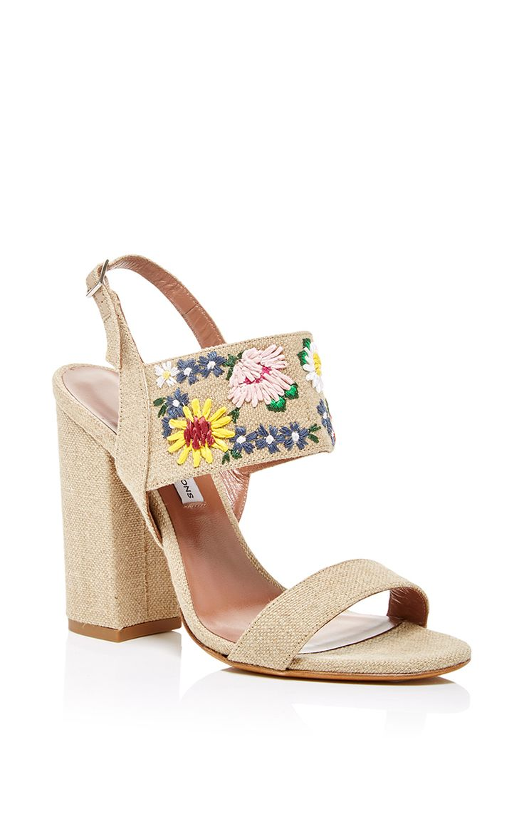 Natural Linen Embroidered Raffia Senna Meadow Sandal by Tabitha Simmons for Preorder on Moda Operandi