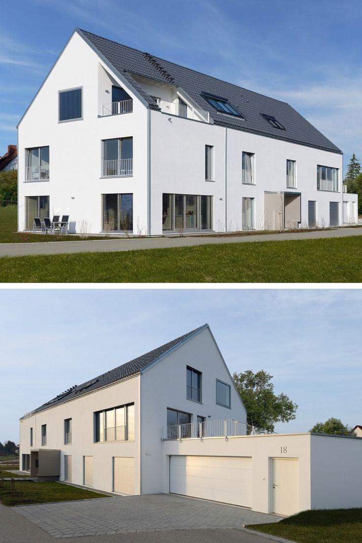 Modernes Mehrfamilienhaus mit Satteldach - Haus Schindele von Baufritz - Fertighaus bauen mit 3 Wohnungen Doppelgarage moderne Architektur - HausbauDirekt.de