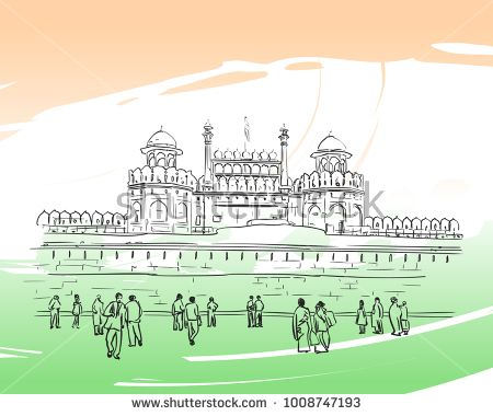 Sketch of Red Fort Unesco world Heritage Site and people on square in front of it, New Delhi, India. Hand drawn vector linear illustration on background of national flag colors. January 24, 2018
