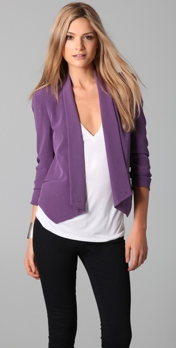 I love the cut of this blazer. The lapels make it looks less business and more casual. If you find something similar to this in white, I will love you forever!