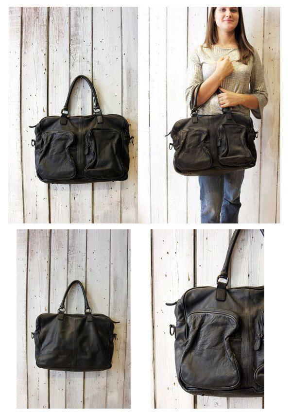 TASC bag 8 -Handmade Italian black Leather Messenger Bag di LaSellerieLimited su Etsy