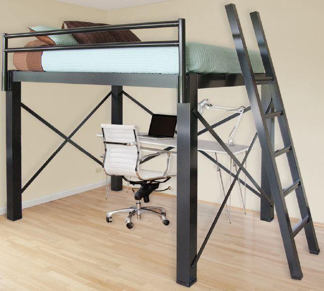 king loft bed home organization inspiration pinterest loft bed frame loft beds and desks. Black Bedroom Furniture Sets. Home Design Ideas