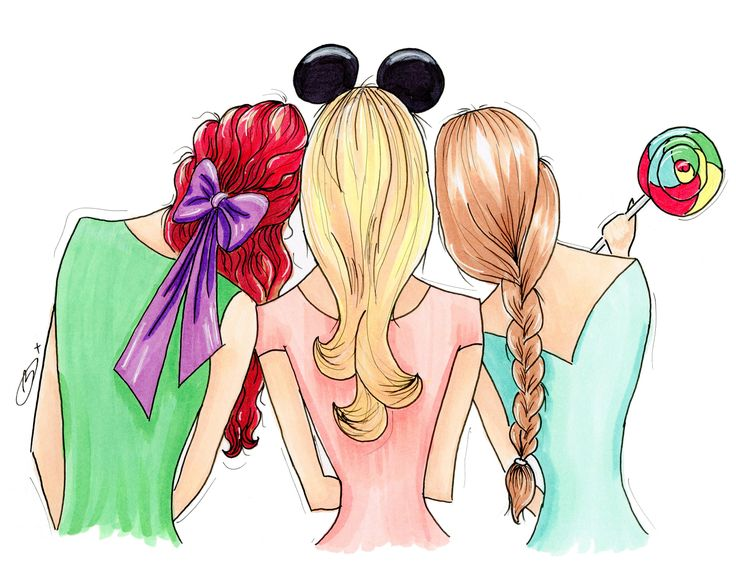 Princess Wall Art, Illustration Art, Fashion Art, Fashion Illustration, Disney Princess, Mickey Ears, BFF Gift, Girlfriend Gift, Best Friend ~ Pretty Bow Studio, Brooke Dixon