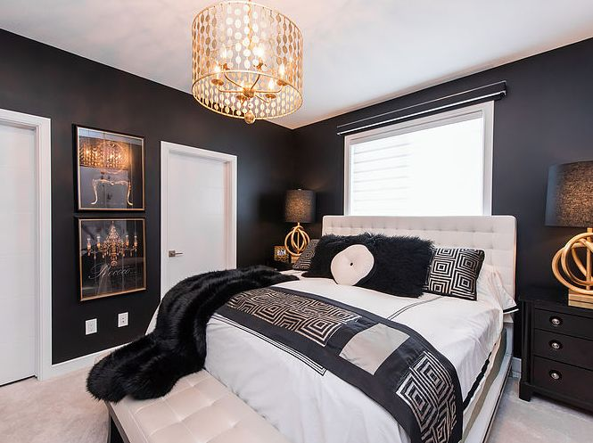 Black and Gold Luxurious Master Bedroom.  Be bold in your master bedroom design! Going with black walls seemed intimidating and scary at first, but once we started adding bright whites, gold, and glamorous textiles, it felt so much richer.