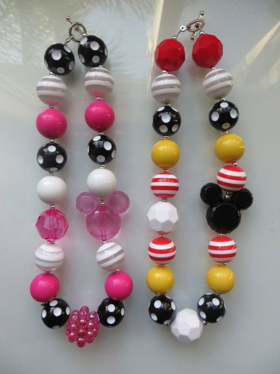Children's Mickey or Minnie Mouse Bubble Gum Chunky Necklace for your Disneyland / Disney World Trip, on Etsy, $11.50