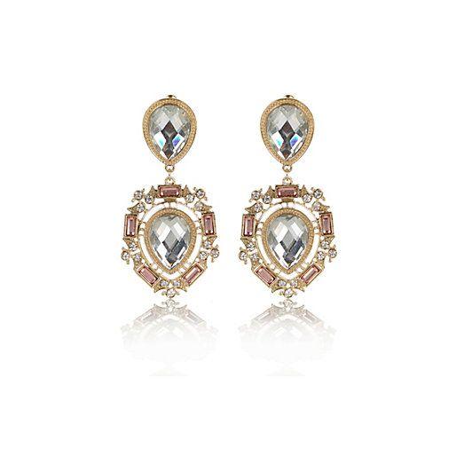 Gold tone teardrop gem stone earrings #riverisland