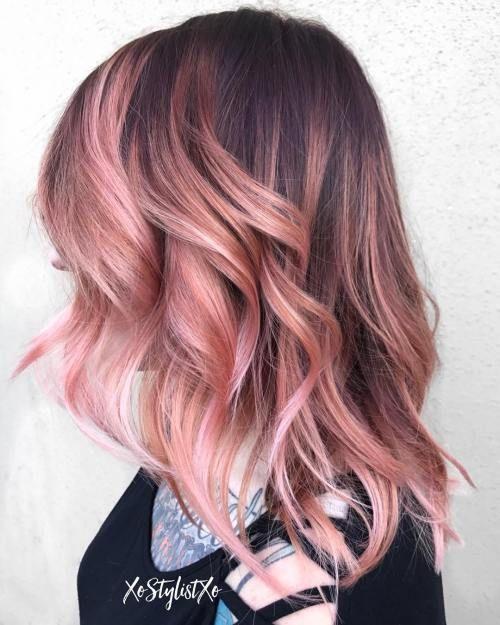 20 hermosos ejemplos de oro rosa Balayage #balayage #examples #rosegol … cabello corto