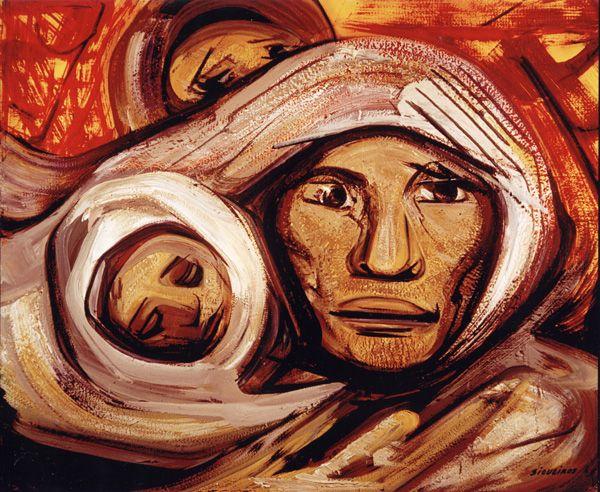MATERNIDAD  Una madre cargando a su hijo, donde en el segundo plano se muestra un campesino atrás, el cual tiene una mirada confusa. En esta obra se muestra a la mujer con una mirada de tristeza, algo melancólica pero responsable al cuidar de su hijo.