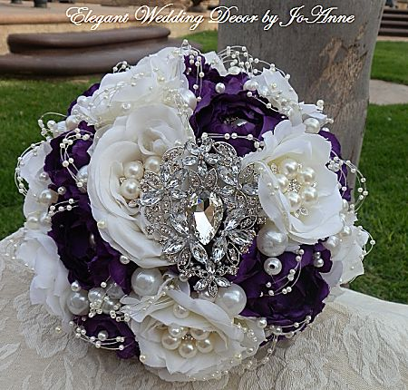 embellished Bridal Brooch Bouquet | Custom Made Bridal Brooch Bouquet Wedding wedding decor | purple and white top