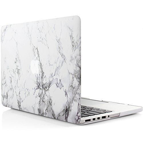 iDoo Matte Rubber Coated Hard Case for Apple MacBook Pro 15-Inch with Retina Display Model A1398 - White Marble