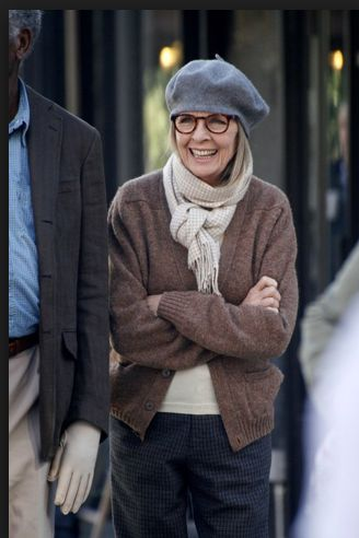 She know her style and wears it very well indeed! Diane Keaton. Cute smile!