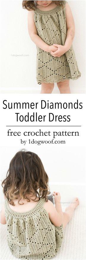 Free crochet pattern to make an adorable dress for a little girl. Features a fun diamond motif!