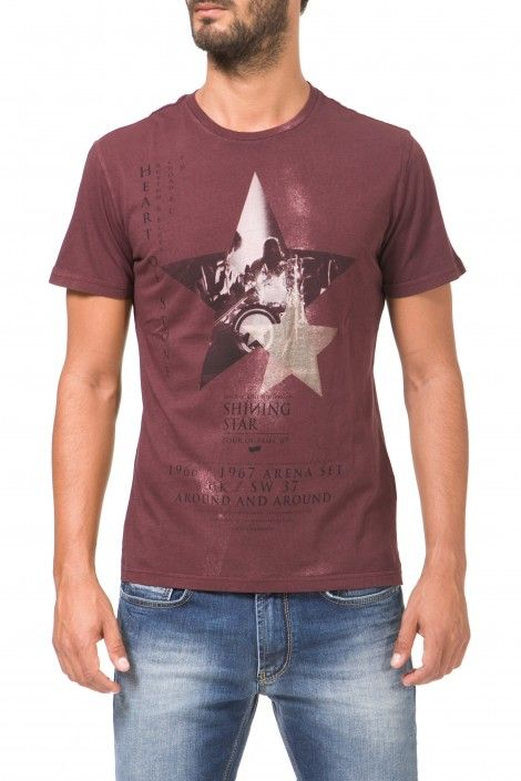 SCUBA/S STAR - Clothing - Man - Gas Jeans online store. short sleeved t-shirt in 100% cotton jersey, slim fit, front print, pigment dye, used effect.