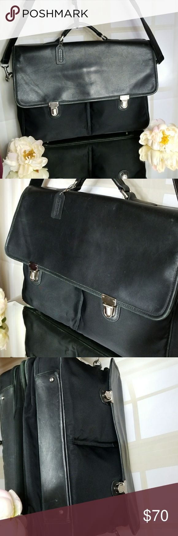 🐎Coach🐎 Black Leather and Nylon Laptop bag 🐎Coach🐎 Briefcase- preowned in good condition -Leather Briefcase/Laptop bag with heavy nylon pockets. Top handle and nice long 40 inch leather adjustable strap- Coach hang tag. 2 nylon front pockets and roomy outside pocket on back. Zipper on interior pocket and zipper closes the main compartment.  16(L),11(H)4(D) Bottom has slight tear on leather rims. Interior is clean and nicely padded for your laptop. Please check photos.  Thanks for…