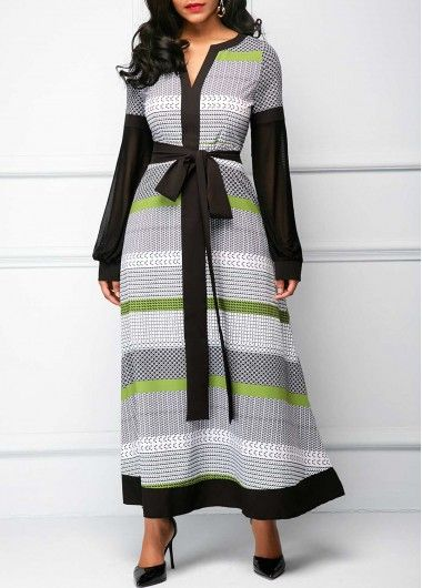 Long Sleeve Split Neck Belted Maxi Dress on sale only US$34.90 now, buy cheap Long Sleeve Split Neck Belted Maxi Dress at liligal.com