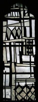 Freie Komposition. Wilhelm Buschulte, 1958  Fenster über dem Seitenaltar,  Antikglas/Blei/Schwarzlot